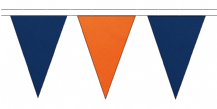 ROYAL BLUE AND ORANGE TRIANGULAR BUNTING - 10m / 20m / 50m LENGTHS